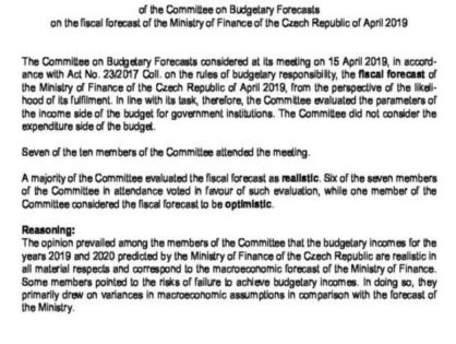 COMMITTEE ON BUDGETARY FORECASTS: NEW MACROECONOMIC AND FISCAL FORECAST OF THE MINISTRY OF FINANCE IS REALISTIC