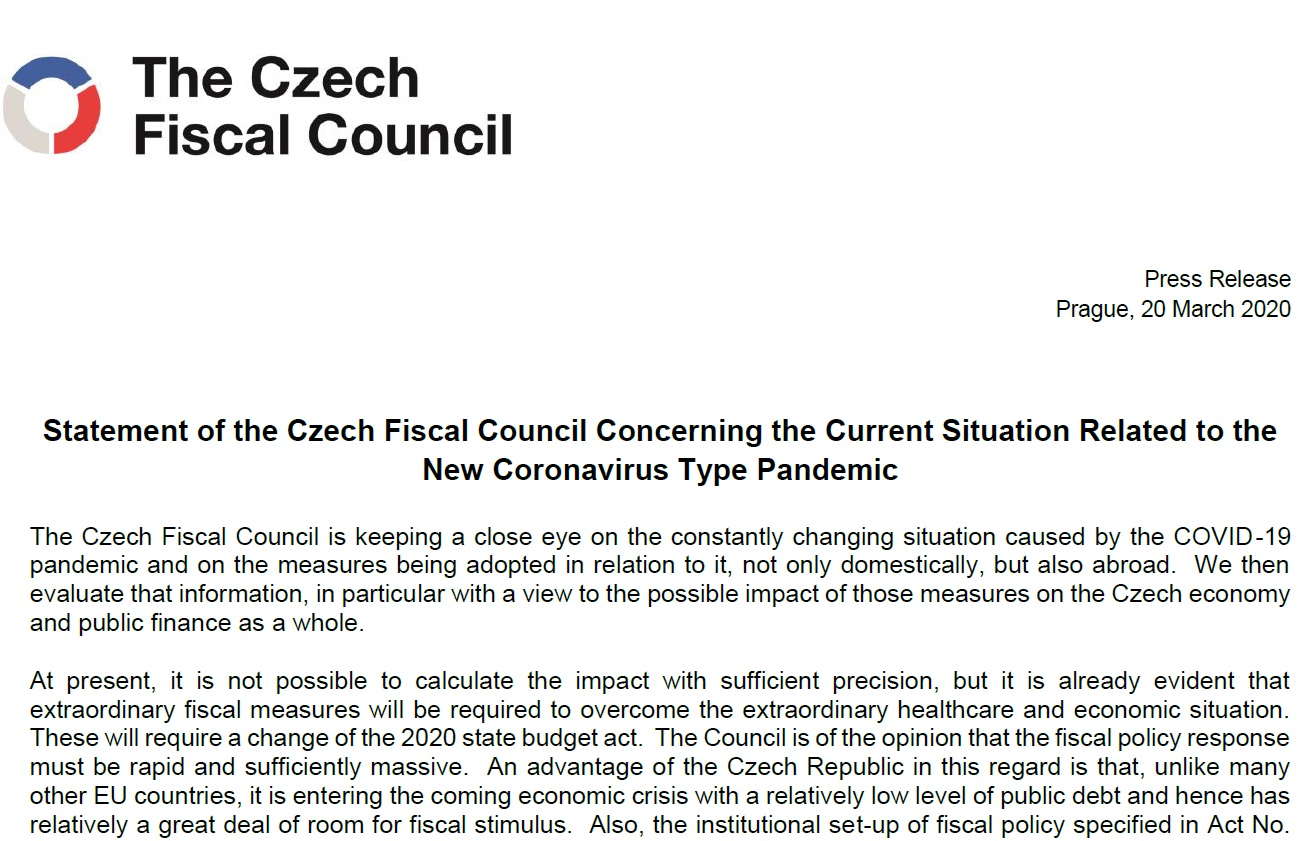 Statement of the Czech Fiscal Council Concerning the Current Situation Related to the New Coronavirus Type Pandemic