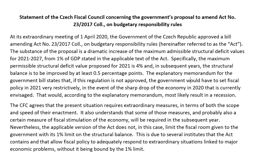 Statement of the Czech Fiscal Council concerning the government´s proposal to amend Act No. 23/2017 Coll. on budgetary responsibility rules