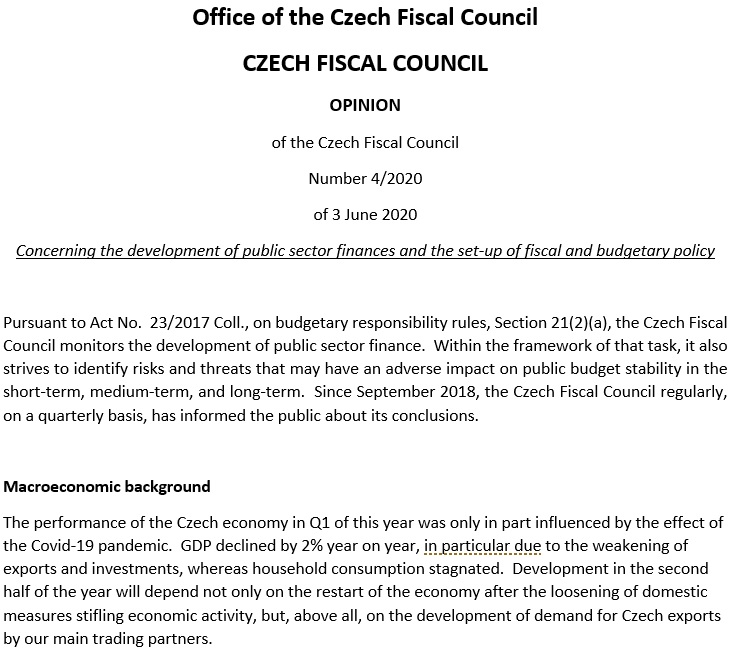 Statement of the Czech Fiscal Council of 3 June 2020 on the development of public sector finances and the set-up of fiscal and budgetary policy
