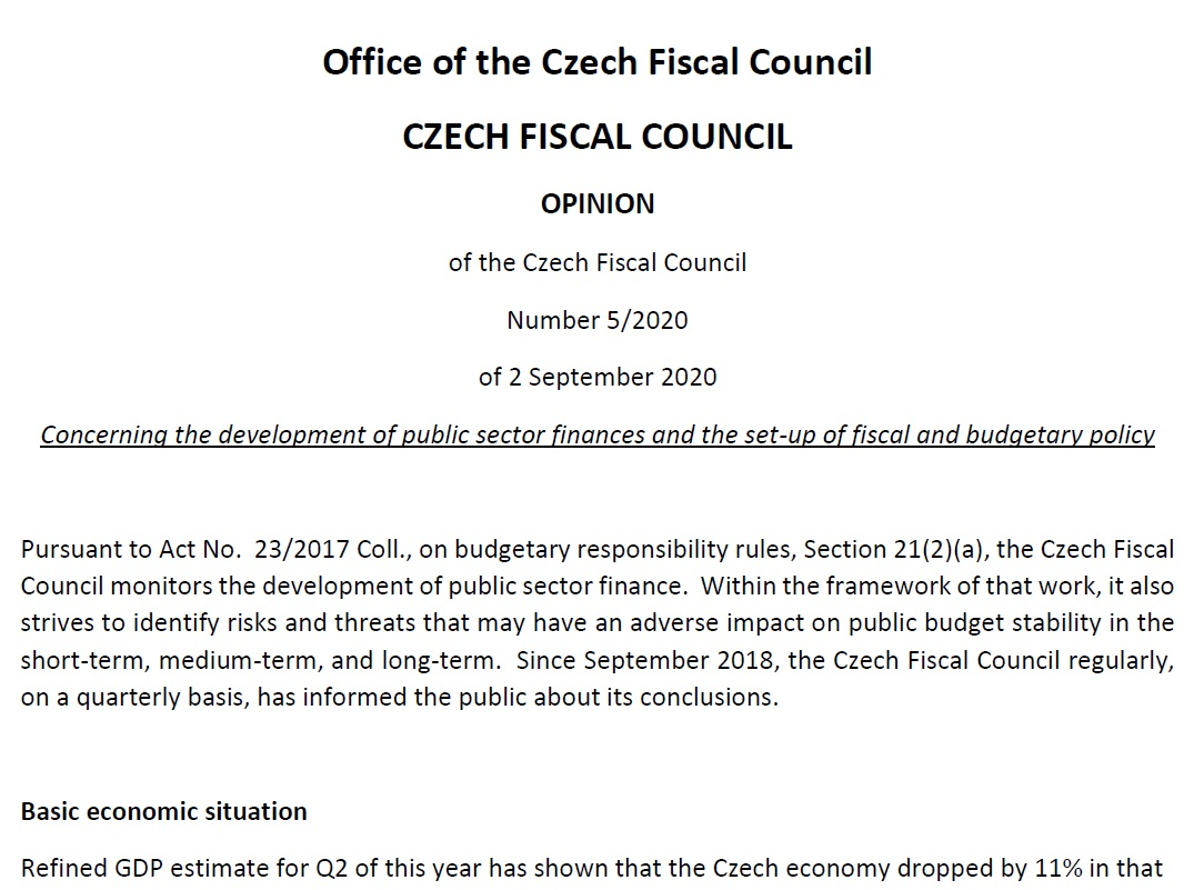 Statement of the Czech Fiscal Council of 2 September 2020 on the development of public sector finances and the set-up of fiscal and budgetary policy