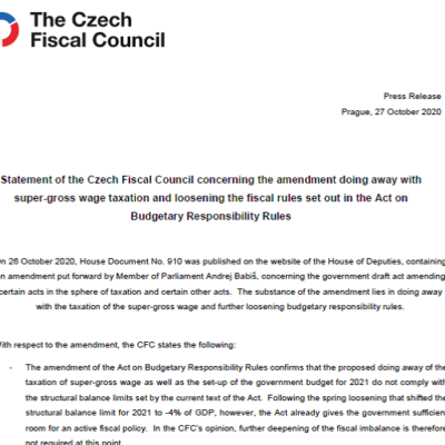 Statement of the Czech Fiscal Council concerning the amendment doing away with super-gross wage taxation and loosening the fiscal rules set out in the Act on Budgetary Responsibility Rules